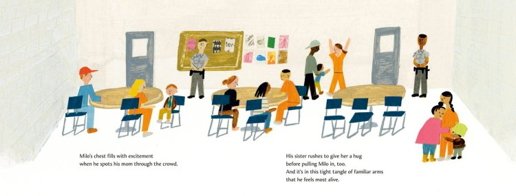 """""""Milo Imagines the World"""" by author Matt de la Peña and illustrator Christian Robinson. Scene shows Milo and his sister visiting their incarcerated mother."""