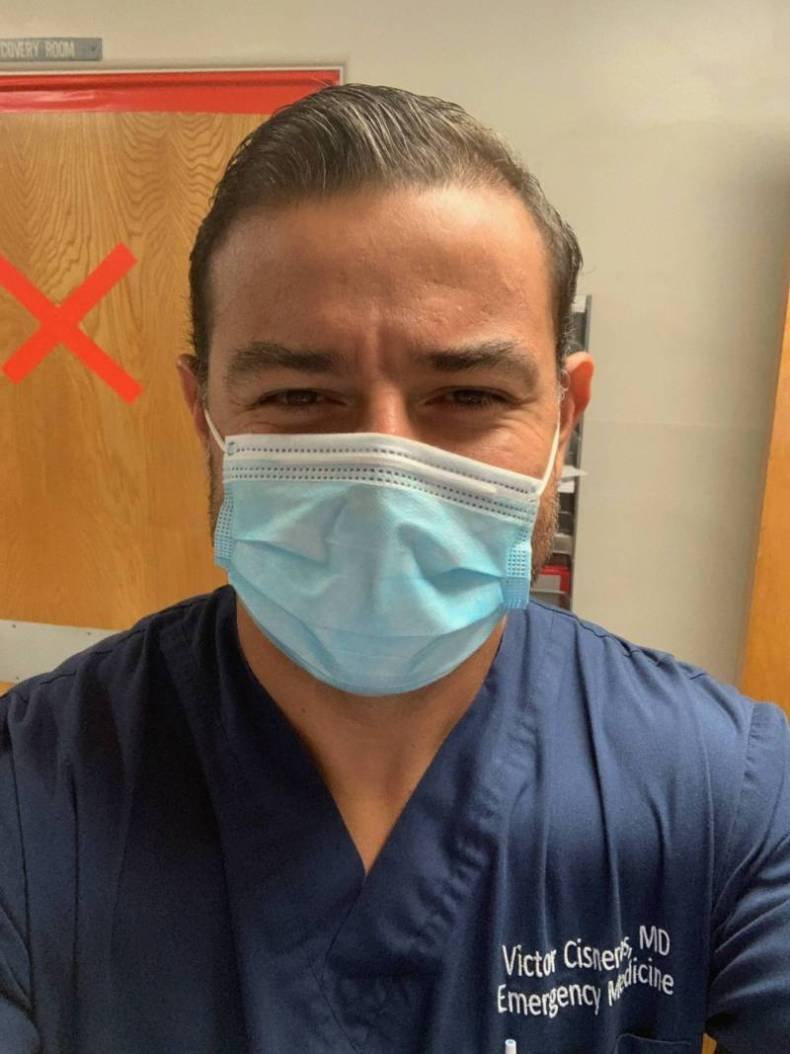 The emergency room where Dr. Victor Cisneros works is running out of beds for patients, many from Latino families like his.