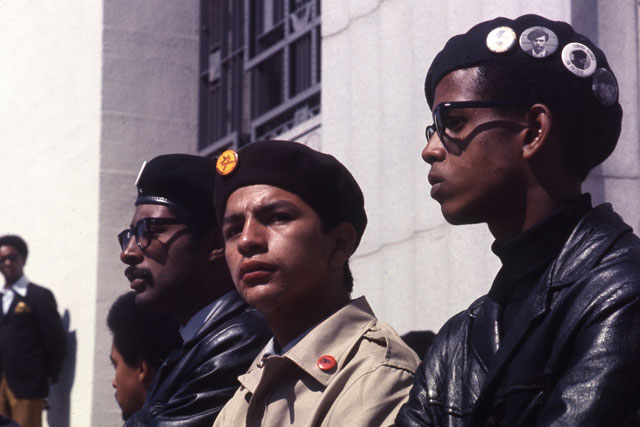 Brown Berets and Black Panthers in Oakland, 1968; Photo by Jeffrey Blankfort