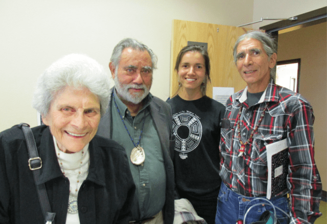 Helen Mayer Harrison and Newton Harrison with Laura and Benny Fillmore of the Washoe Tribe