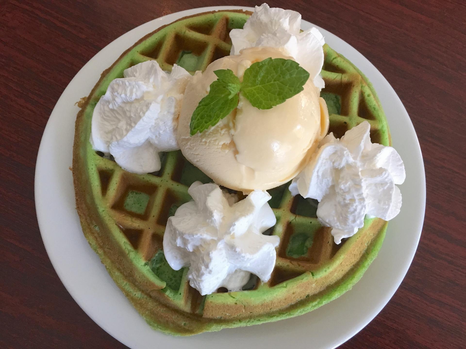 Monster Pho's pandan waffle dessert.