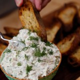 Holiday Party Food: Smoked Trout-Herb Dip with Crostini