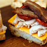 Thanksgiving Leftovers: Turkey Club Sandwiches with Roasted Tomatoes and Chipotle Mayo