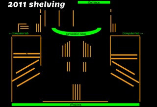 A floor plan of shelving in Luhtala's library in 2011.