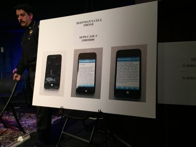 "Matthew Hoffman's phone displaying a note that begins, ""Dear Officer(s)."" (Alex Emslie/KQED)"