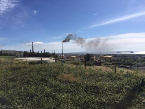 PHOTO: The power outage on May 5, 2017, at the Valero Refinery in Benicia lasted several hours and led to flaring at the refinery. Flaring is a process that allows the refinery to relieve pressure – but it can send out smoke and toxic gas. (Craig Miller/KQED)