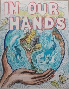 """Hayward artist Tammy Artis' sign """"In Our Hands"""" created for the city's upcoming Science March."""