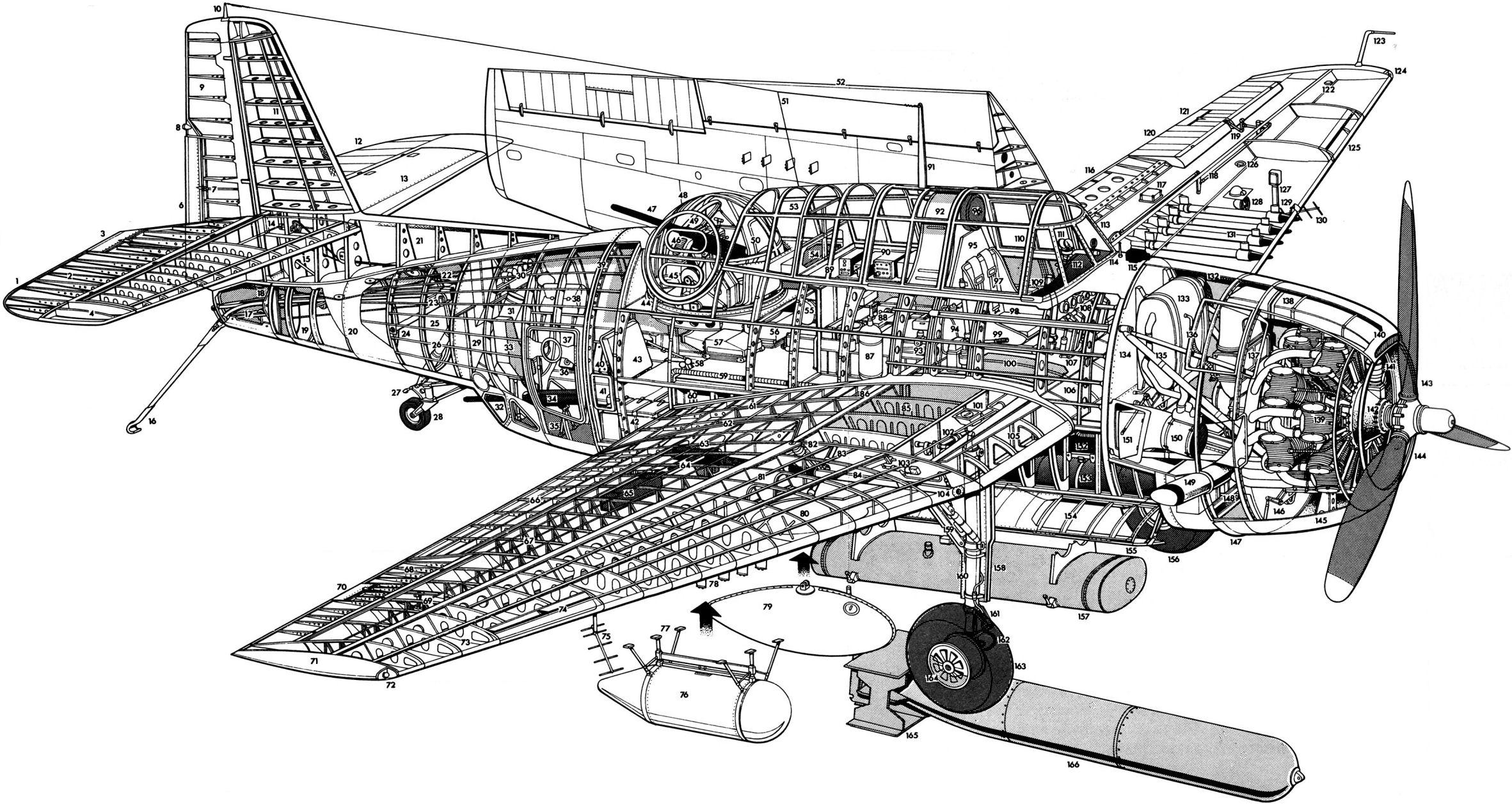 Photo Exploded View Of The Tbm 1c Avenger