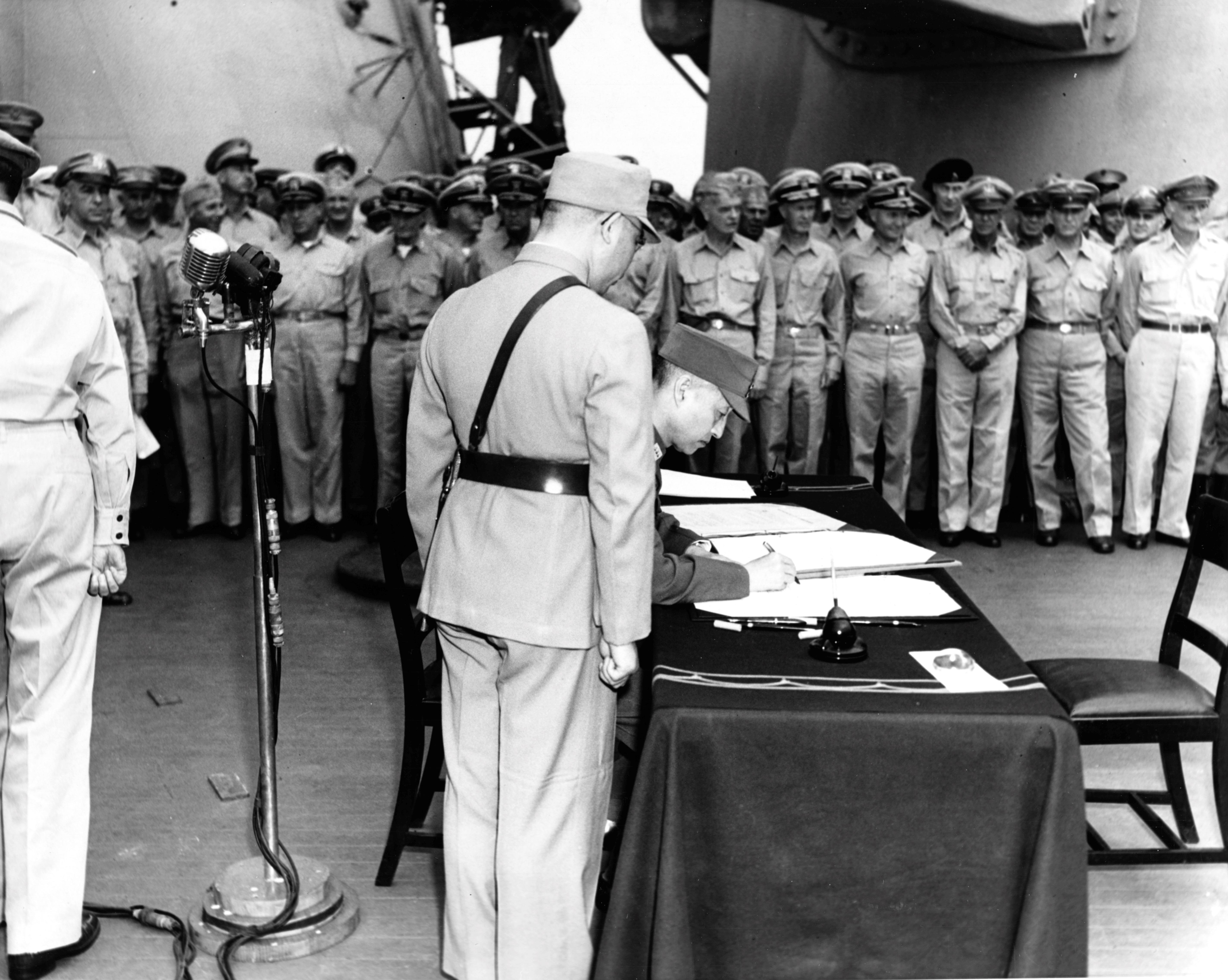 Photo Xu Yongchang Signing The Surrender Document On Behalf Of China Aboard Uss Missouri
