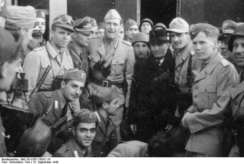 Otto Skorzeny, Harald Mors, and Benito Mussolini in front of Hotel Campo Imperatore, Gran Sasso, Italy, 12 Sep 1943, photo 2 of 3