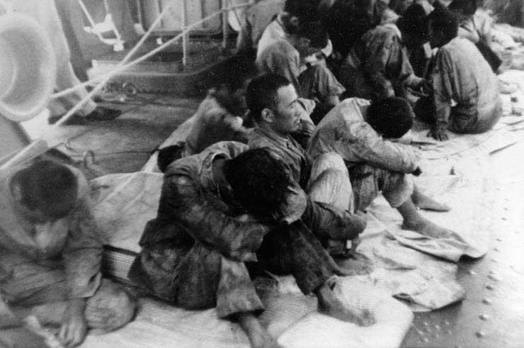 Surviviors of Hiryu aboard USS Ballard, Jun 1942