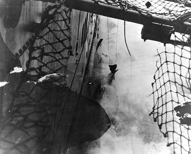 Torpedo damage on Lexington, 8 May 1942