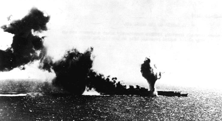 Shoho torpedoed, photographed by pilot from Lexington, Battle of Coral Sea, 7 May 1942