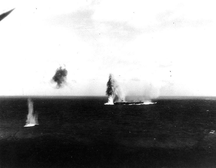 Bombing attack on Japanese carrier Shokaku, Battle of the Coral Sea, 8 May 1942, photo 1 of 2