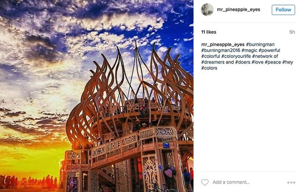 A temple-like artwork stands before the rising sun. Photo: Instagram Screenshot