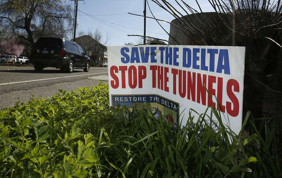 In this Feb. 23, 2016 photo, a sign opposing a proposed tunnel plan to ship water south from the Sacramento River is displayed near Freeport, Calif. Photo: Rich Pedroncelli, AP
