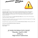 Junior Information Night – April 11th @6:00 PM