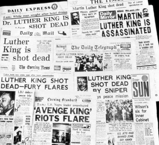 This is how the morning newspapers in London headlined the assassination of Dr. Martin Luther King, April 5, 1968. (AP Photo) / Beaumont