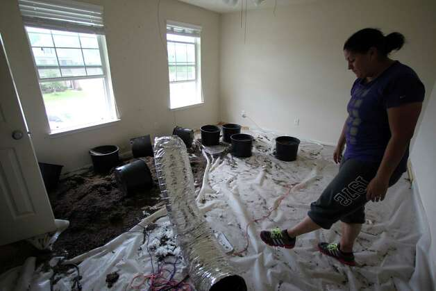 Candace Riddle looks over plastic pots and soil along with a makeshift air ducts inside her home which renters used for a marijuana growing farm that was raided by DEA, Texas Department of Public Safety and Harris County Sheriff Department, Thursday, Aug. 23, 2012, in Spring.<br /> ( James Nielsen / Chronicle ) Photo: James Nielsen / © Houston Chronicle 2012