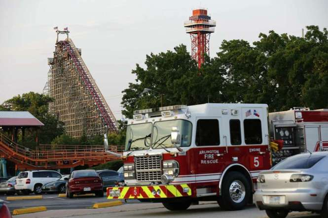 Emergency Personnel Are On The Scene At Six Flags Over Texas In Arlington