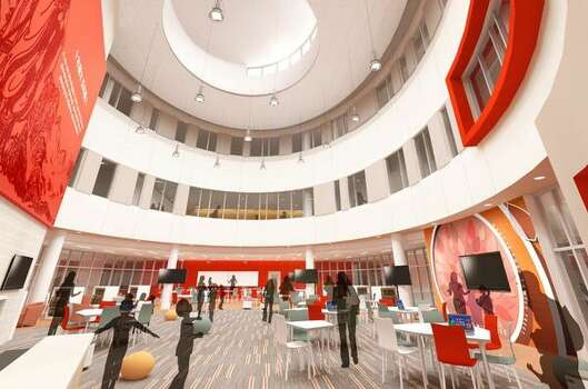 This is an architect's rendering of the common area of the Chinese Mandarin Language Immersion School under construction in the Galleria area.   This is an architect's rendering of the common area of the Chinese Mandarin Language Immersion School under construction in the Galleria area. Photo: Mandarin Chinese Language Immers