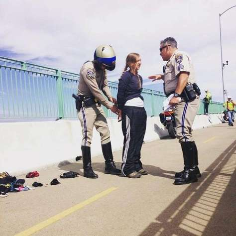 Emily Heffling, of Oakland, was arrested during a protest at the Benicia-Martinez railroad bridge on July 6, 2015.