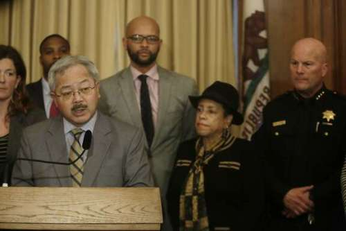 Mayor Ed Lee speaks at a news conference regarding the officer involved shooting of Mario Woods in the Bayview District last week in the Mayor's Office at City Hall on Monday, December 7, 2015 in San Francisco, Calif.