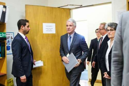 District Attorney George Gascon (center) makes his way to a press conference where he will announce the filing of a felony and misdemeanor charges against three former and one current deputy, in San Francisco, California, on Tuesday, March 1, 2016.