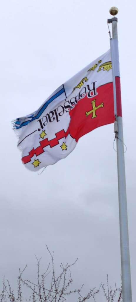 The group RPI in Distress hung the school's flag upside down in protest. (Provided photo)