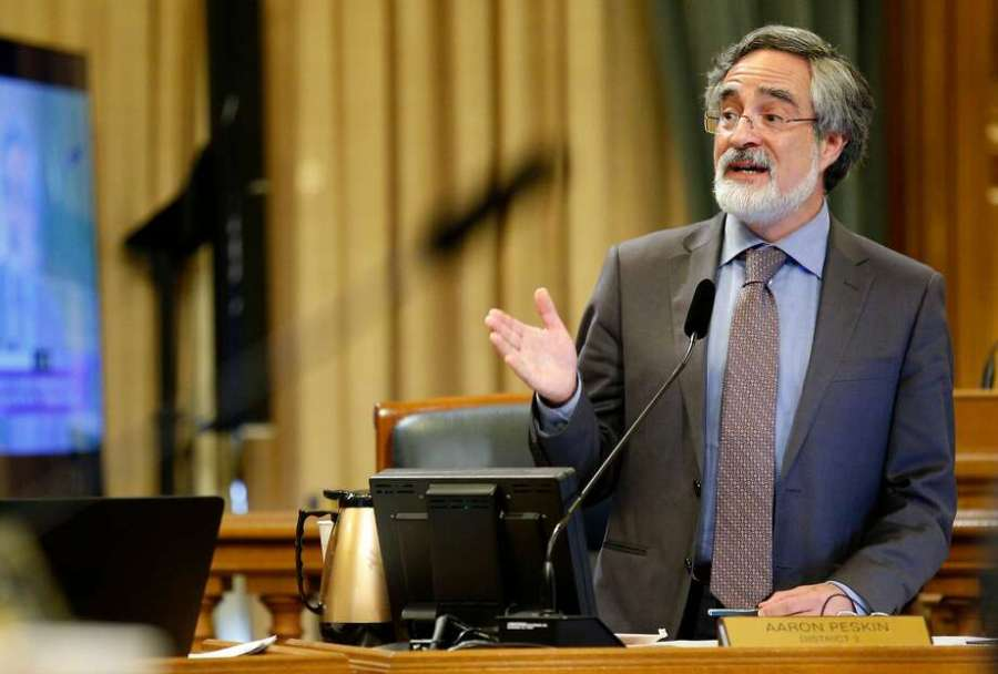 Supervisor Aaron Peskin, during a Board of Supervisors meeting at City Hall last year, says he might have a solution to the city's squabbles over sales of recreational marijuana. Photo: Santiago Mejia, The Chronicle