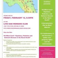 At What Cost? Pipelines, Pollution and Eminent Domain in the Rural South --Movie in Live Oak, FL 2016-02-12