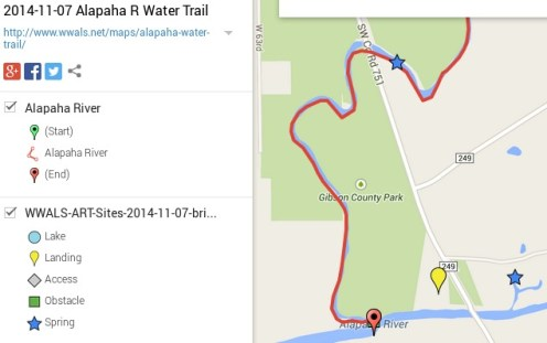 635x399 ARWT South Springs Legend, in Alapaha River Water Trail draft map, by John S. Quarterman, for WWALS.net, 7 November 2014