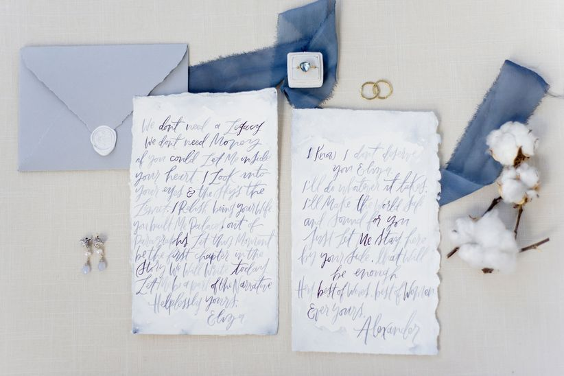 romantic spring wedding invitation suite with blue watercolor calligraphy