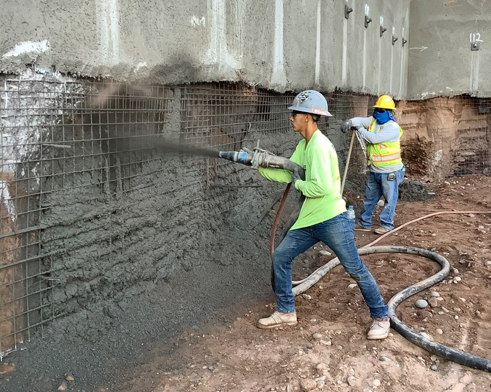 Shotcrete Crew working inspection on 100 Mill Office Tower