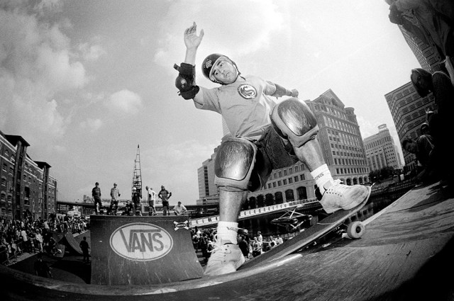 Steve Caballero, Docklands, London, 1996. (Photo by: PYMCA/Universal Images Group via Getty Images)