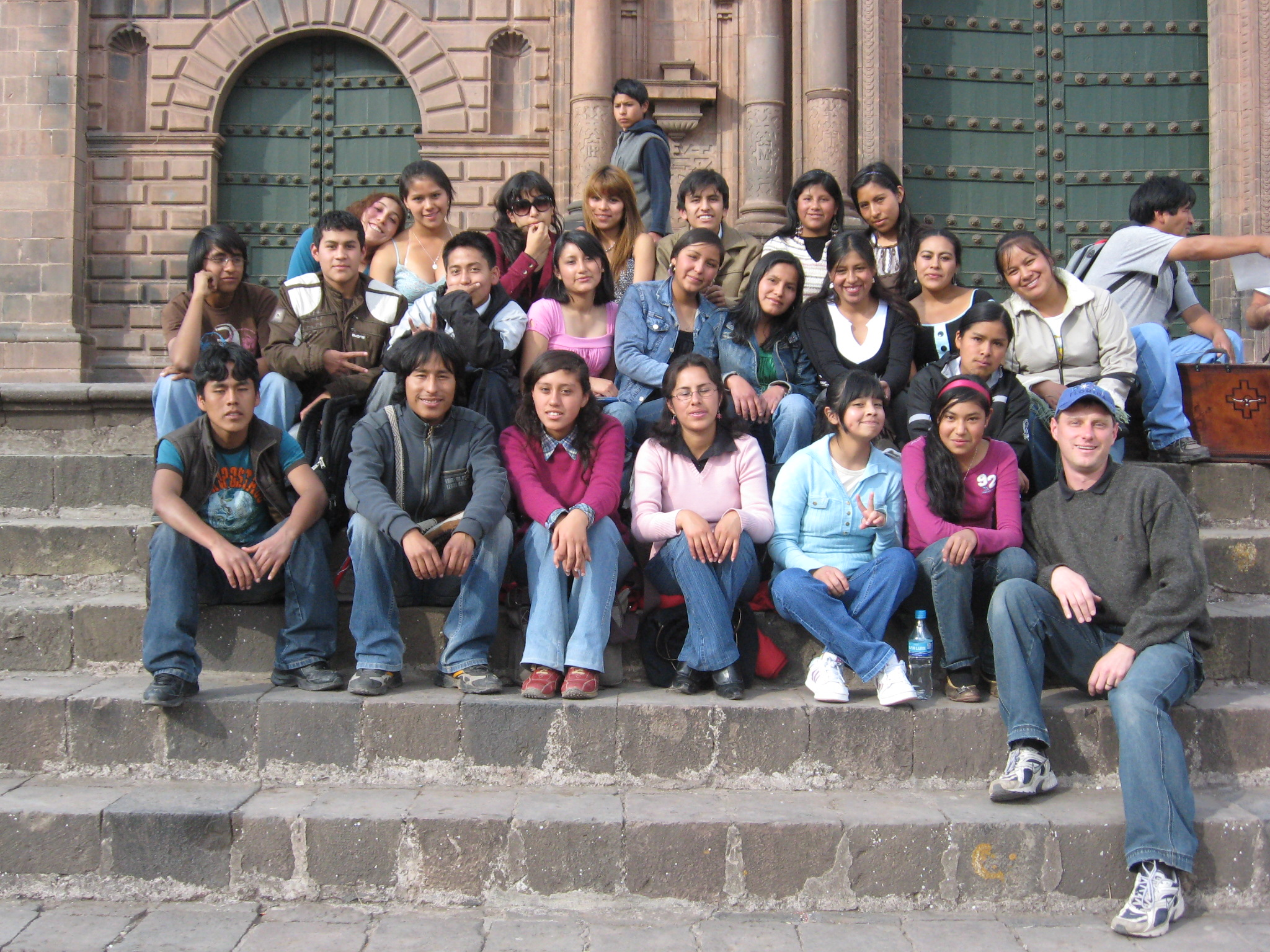 ESL students and me, in jeans and sneakers