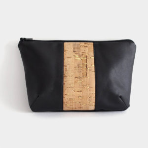 Diana Black Vegan Pouch Black & Cork