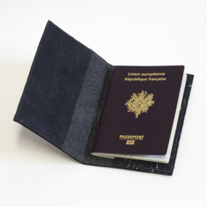 Delia Passport cover Piñatex Cork Black Black cork interior compartment view