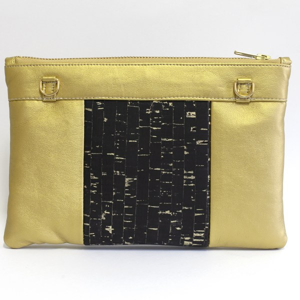 Back of the Gold Vegan Fabric and Cork Holiday Pouch Black Cassie