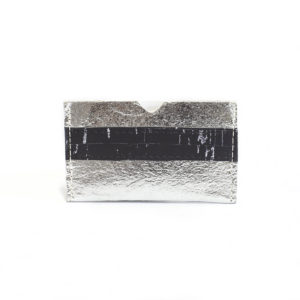 vegan card holder in Piñatex Silver and Cork