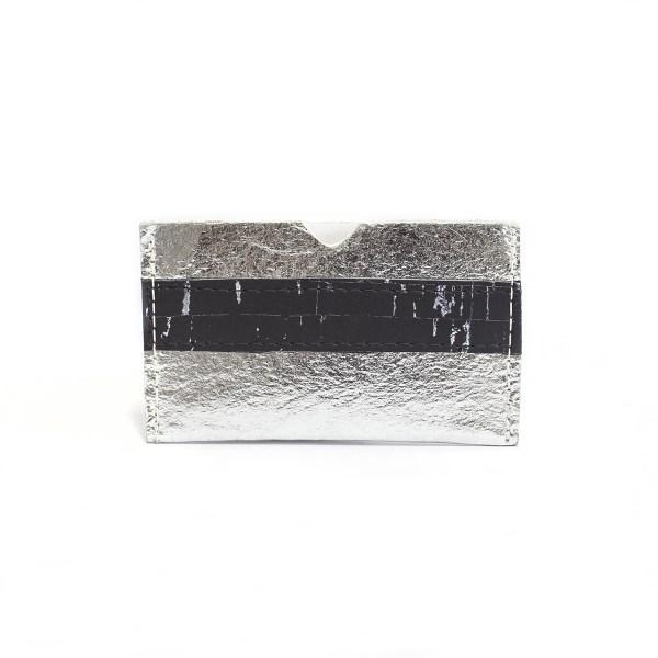 vegan card holder in Piñatex Silver and Cork