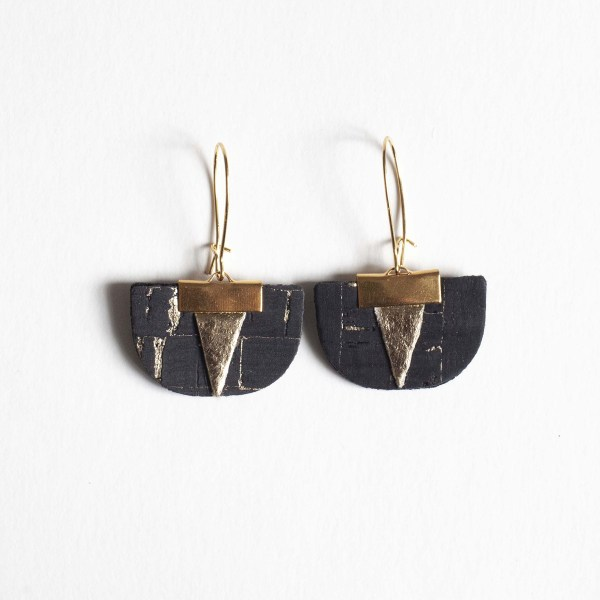 Cork Earrings with Golden Piñatex®. Made in France