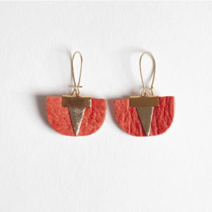 Daisy Piñatex Earrings Paprika Gold