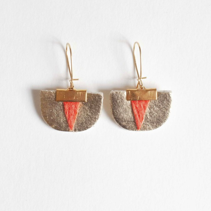 Daisy Piñatex® Earrings Gold and Paprika