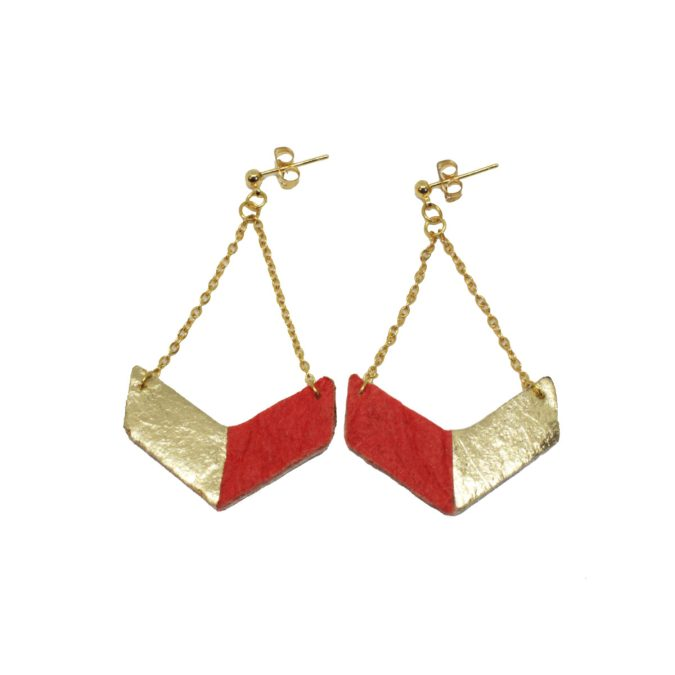 Victory earrings Gold and Paprika in Piñatex®