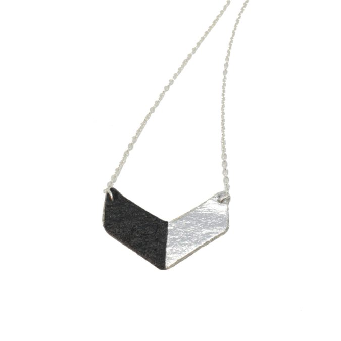 Victory Necklace in Piñatex Black and Silver front view