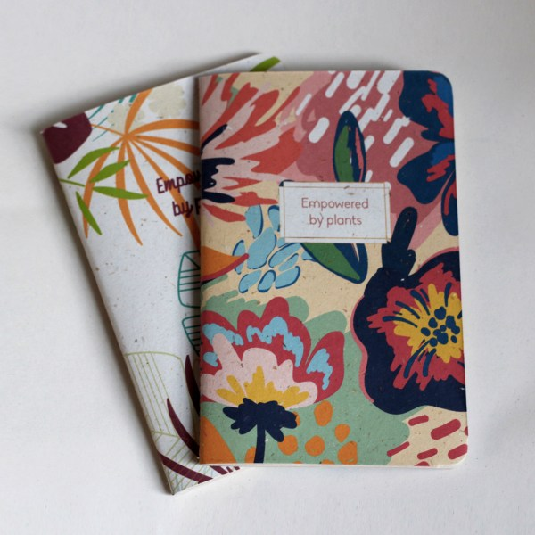 Recycled banana leaf notebooks tropical and flowery