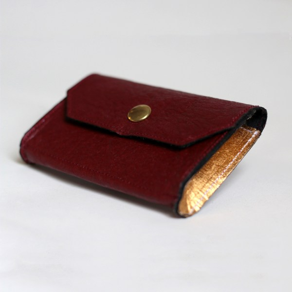 Front view of the Phulan Mulberry and Gold Wallet made in France
