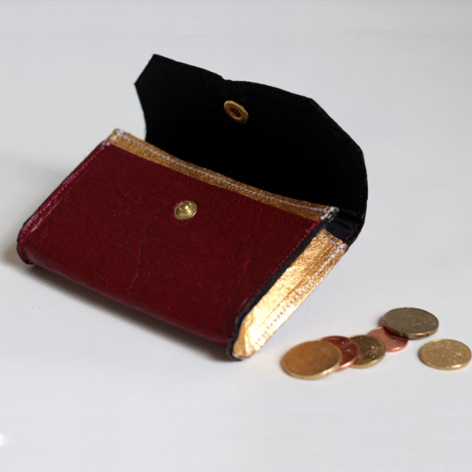 Phulan Mulberry and Gold wallet made in France