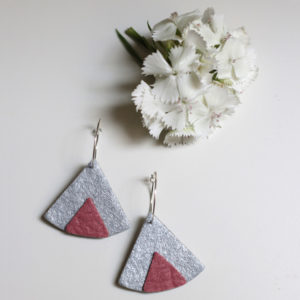 Ethnic Piñatex Earrings Silver Pink